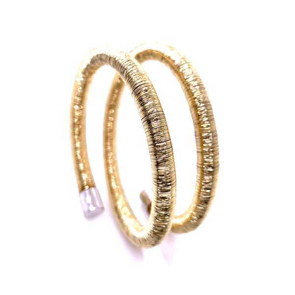 Silver Flossed Bangle, Double, 6mm, Gold Plated, Anti Tarnish