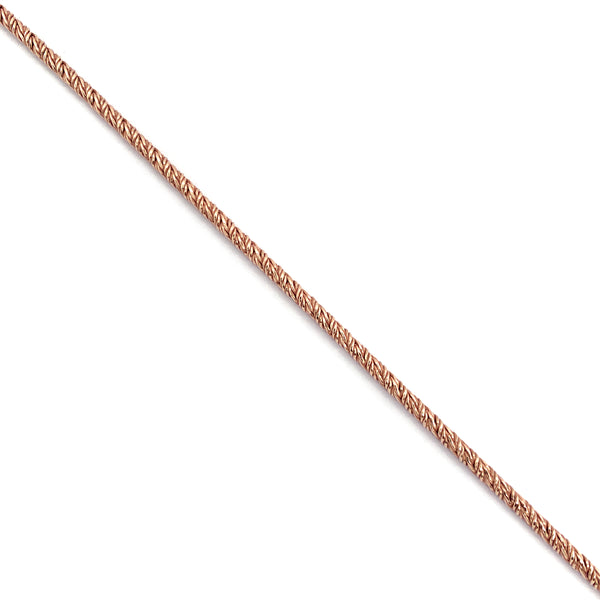 Silver Twisted Foxtail Chain, 2.1mm Width, Rose Gold Plated, AT