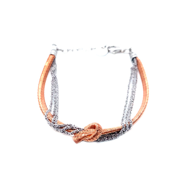 Silver Spiral Bracelet, 2mm Flat, Rose Gold Plated, Margherita 3 row Rhodium Plated, 16+3cm, AT