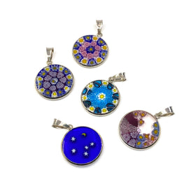 Murano Glass Murrine with Silver Grommet,  Mix Style, 18mm, Pendant, RH Plated
