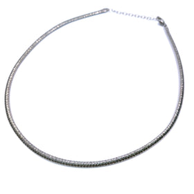 Silver Flossed Mesh Necklace, Oval, 3.4mm Width, 40+5cm, RH Plated