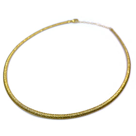 Silver Flossed Mesh Necklace, Oval, 3.4mm Width, 40+5cm, Gold Plated, Anti-Tarnish