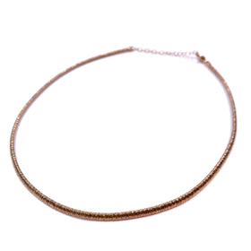 Silver Flossed Mesh Necklace, Oval, 3.4mm Width, 40+5cm, Rose Plated, Anti-Tarnish