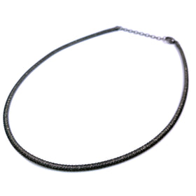 Silver Flossed Mesh Necklace, Oval, 3.4mm Width, 40+5cm, RU Plated