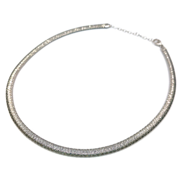 Silver Flossed Mesh Necklace, Oval, 5.3mm Width, 40+5cm, RH Plated