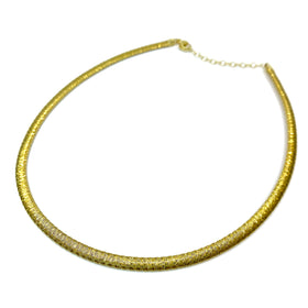 Silver Flossed Mesh Necklace, Oval, 5.3mm Width, 40+5cm, Gold Plated, Anti-Tarnish