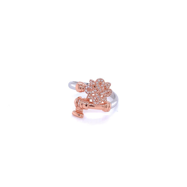 Silver Ring, Key Shape, w/CZ, Rose +Rhodium Plated
