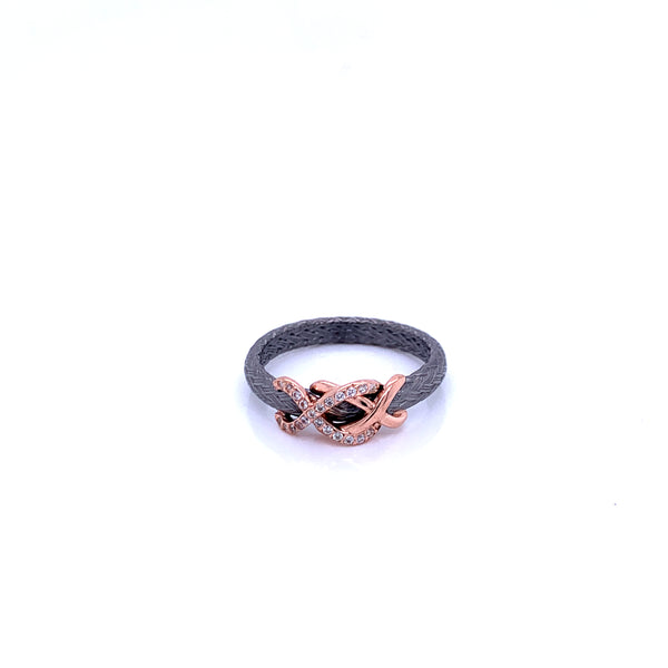 Silver Ring, Weaved, w/CZ, RU&Rose Plated