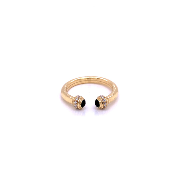 Silver Ring, Solid Tube, Glass-stone(Black) w/CZ, Gold Plated