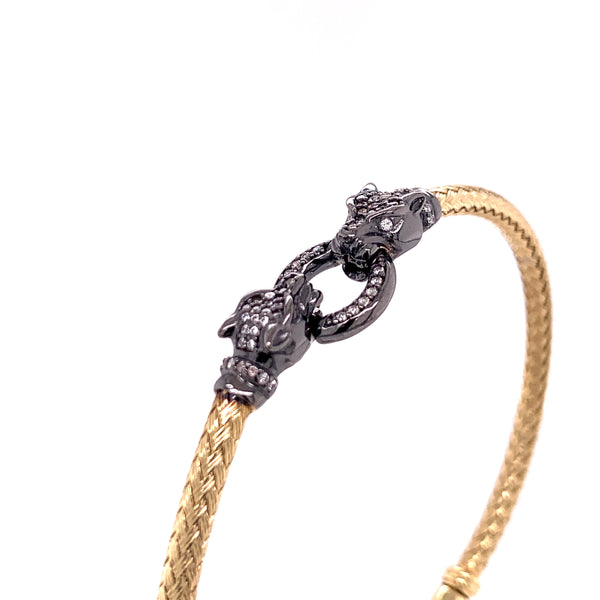 Silver Bangle, Weave w/Two Leopards, w/CZ, Gold+RU Plated