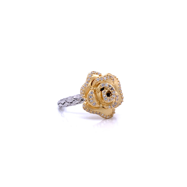 Silver Ring, Weave 2mm, Rose with CZ, Rh Ring, Gold Casting