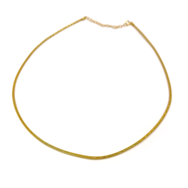Silver Mesh Chain, Round, 1.5mm D/C, 40cm+5cm Ext. Gold Plating, Anti Tarnish