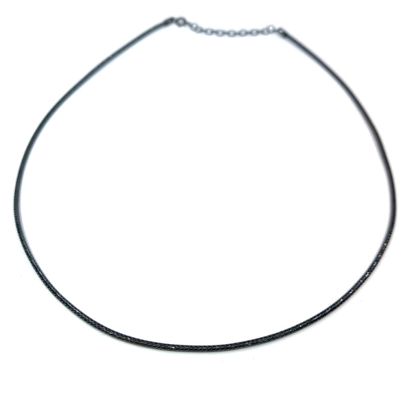 Silver Mesh Chain, Round, 1.5mm D/C, 40cm+5cm Ext. Ru Plating