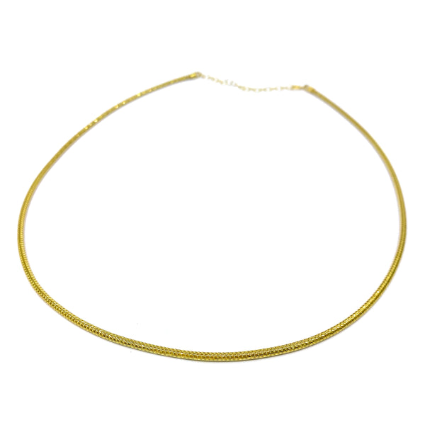 Silver Mesh Chain, Round, 2.0mm D/C, 40cm+5cm Ext. Gold Plating, Anti Tarnish