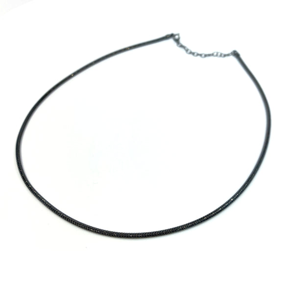Silver Mesh Chain, Round, 2.0mm D/C, 40cm+5cm Ext. Ru Plating