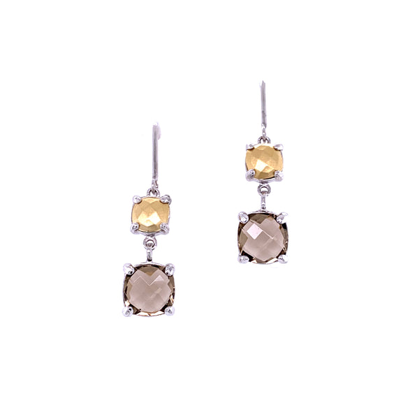 Silver Earrings, w/18KY Gold Sheet and Smoky Quartz Glass Stone, RH Plated, 1 Pair