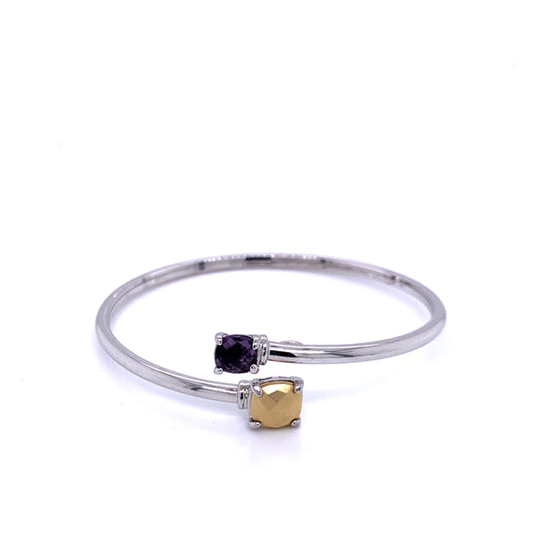 Silver Bangle, Plain Tube, w/18KY Gold Sheet & Amethyst Glass Stone, RH Plated