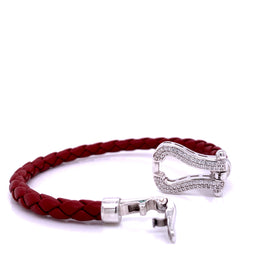 Leather Bangle 5mm, Bordeaux, Silver Horseshoe Casting with CZ, 18.5cm