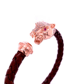 Leather Braided Bangle, Dark Brown, w/Rose Plated Silver Leopard Casting, w/CZ, 19cm