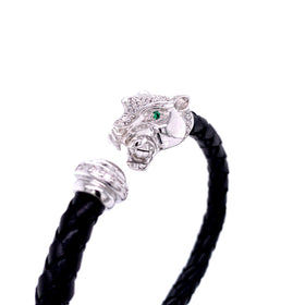 Leather Braided Bangle, Black, w/Rhodium Plated Silver Leopard Casting, w/CZ, 19cm