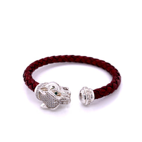 Leather Braided Bangle, Bordeaux, w/Rhodium Plated Silver Leopard Casting, w/CZ, 19cm