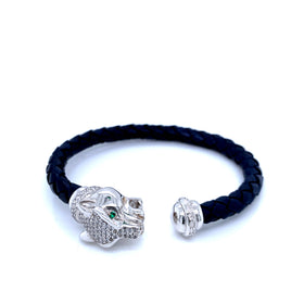 Leather Braided Bangle, Navy, w/Rhodium Plated Silver Leopard Casting, w/CZ, 19cm