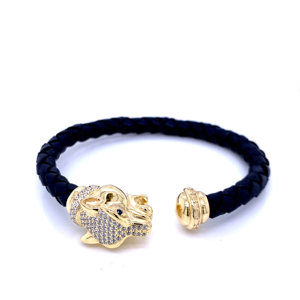 Leather Braided Bangle, Navy, w/Gold Plated Silver Leopard Casting, w/CZ, 19cm