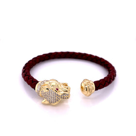 Leather Braided Bangle, Bordeaux, w/Gold Plated Silver Leopard Casting, w/CZ, 19cm