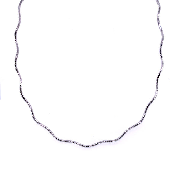 Silver Spring Omega Necklace, 1.3mm, Wavy, Rhodium Plated, 16