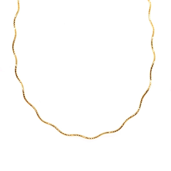 Silver Spring Omega Necklace, 1.3mm, Wavy, Gold Plated, 16