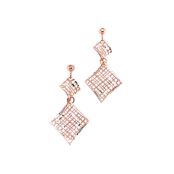Silver Casting Earring, Ball Post w/Rhombus x2, Rose Gold Plated, AT