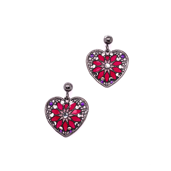 Silver Casting Earrings, Ball Post w/Heart, RU Plated w/Enamel(Red+Purple), 1 Pair