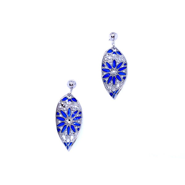 Silver Casting Earring, Ball Post w/Twisted Oval, Rhodium Plated w/Enamel(Blue), 1 Pair