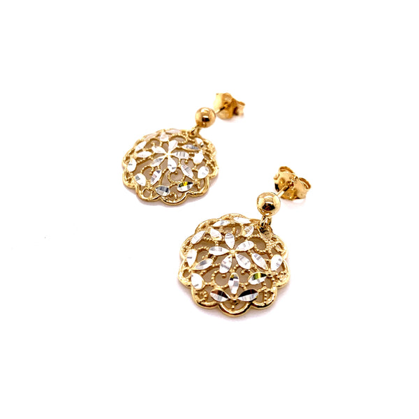 Silver Casting Earrings, Ball Post w/Flower, Gold Plated, AT, 1 Pair