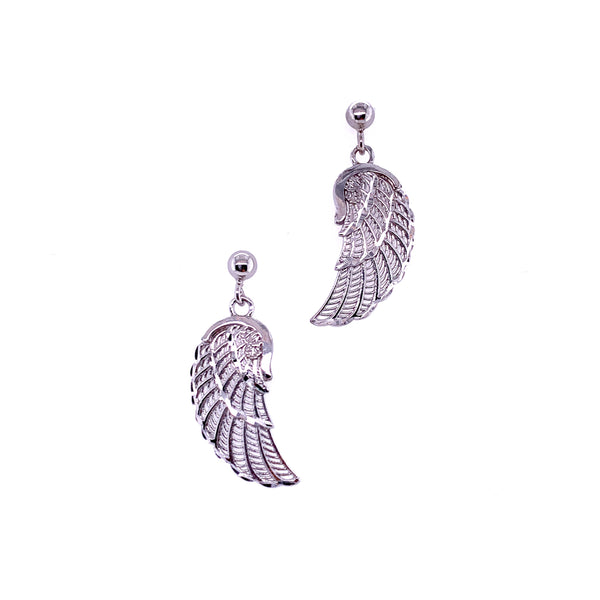 Silver Casting Earrings, Ball Post w/Wing, RH Plated, 1 Pair
