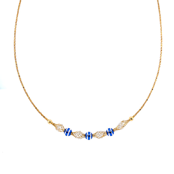 Silver Mesh Necklace, w/DC Beads(Blue), Gold Plated, 42cm