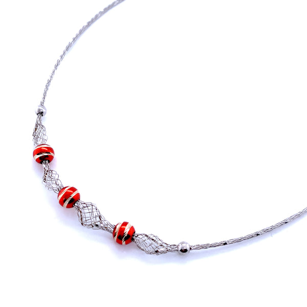 Silver Mesh Necklace, w/DC Beads(Red), Rhodium Plated, 42cm