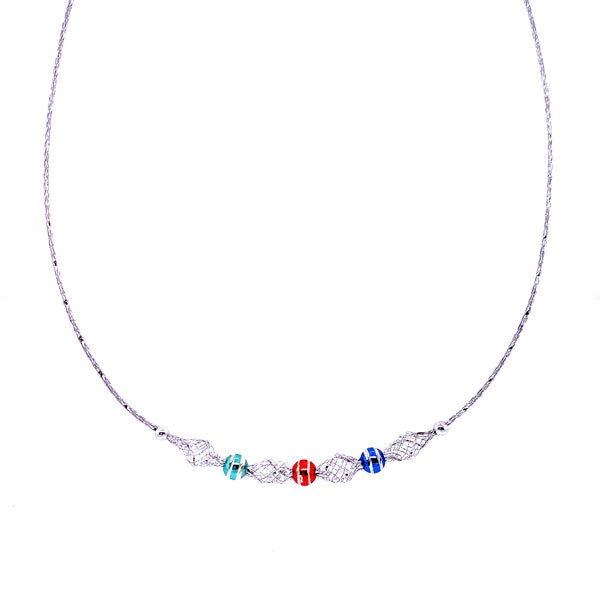 Silver Mesh Necklace, w/DC Beads(Triple-colours), Rhodium Plated, 42cm