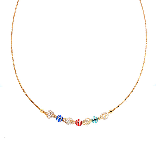 Silver Mesh Necklace, w/DC Beads(Triple-colours), Gold Plated, 42cm