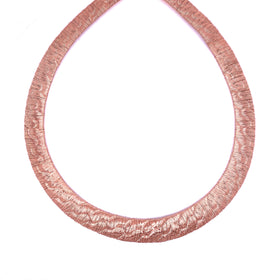Silver Mesh Chain, Tyre Pattern, 6 - 12mm Gradation, Rose Gold Plated, 42+5cm, Anti-Tarnish
