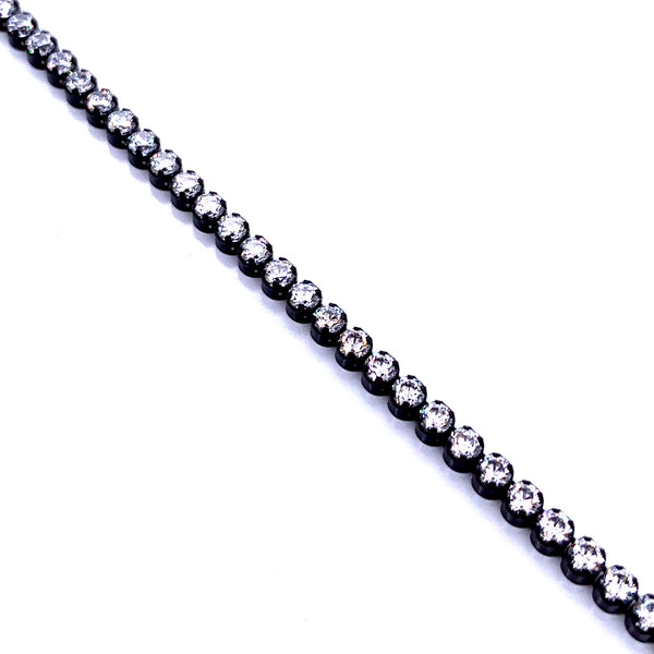 Silver Tennis Chain, 2.4mm, White CZ, w/Adjustable Bead, 9.5