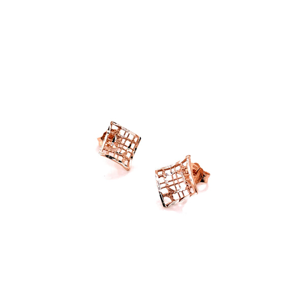 Silver Casting Earrings, Rhombus, DC, Rose Plated, AT, 1 Pair