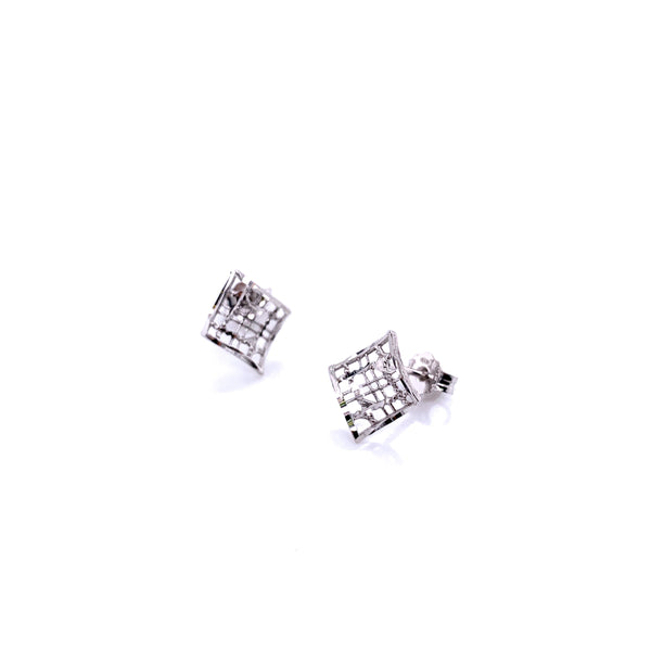 Silver Casting Earrings, Rhombus, DC, Rhodium Plated, 1 Pair