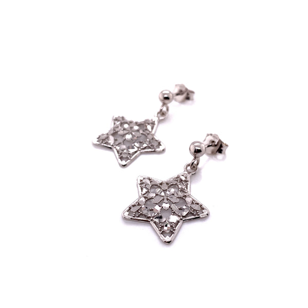 Silver Casting Earrings, Star, DC, Rhodium Plated, 1 Pair