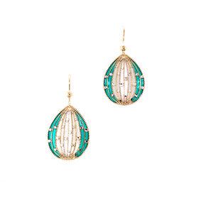 Silver Casting Earring, Almond Shaped w/Fish Hook, DC, Gold Plated w/Enamel (Green + White)