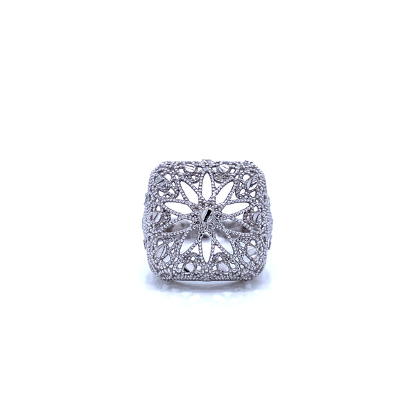 Silver Casting Ring, Square, DC, RH Plated, Open