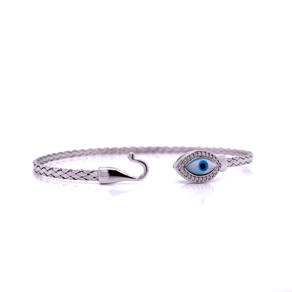 Silver Bangle, Weave, Evil Eye w/CZ, RH Plated, 18.5cm