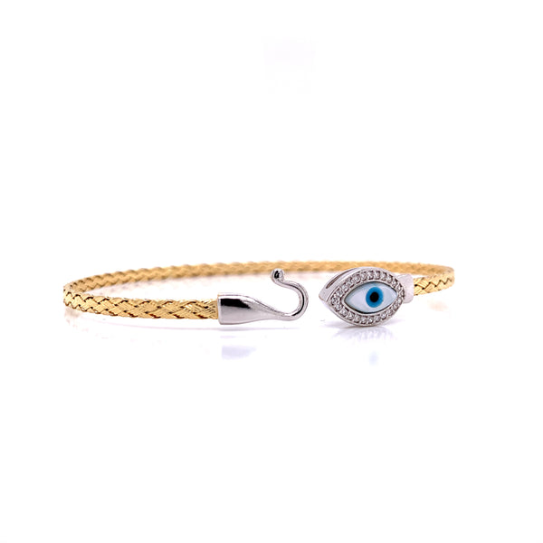 Silver Bangle, Weave, Evil Eye w/CZ, Gold + RH Plated, 18.5cm