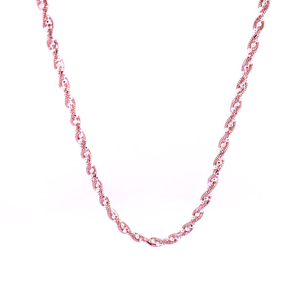 Silver Snake&Bead Twisted Chain, 26