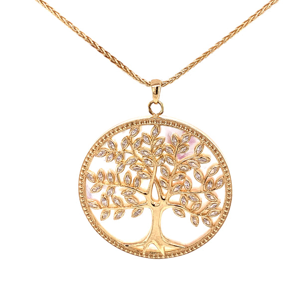 Silver Necklace w/ Life Tree Pendant, MOP + CZ, 70+3cm, Gold Plated